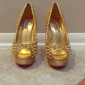 Gold Steve Madden Spiked Heels